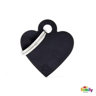 My Family basic engraved tag small heart black