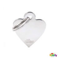 My Family basic engraved tag small heart chrome