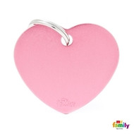 My Family basic engraved tag big heart pink