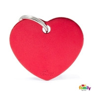 My Family basic engraved tag big heart red