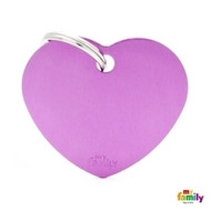 My Family basic engraved tag big heart purple