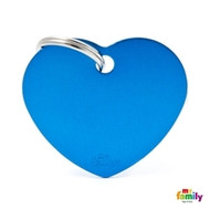 My Family basic engraved tag big heart blue