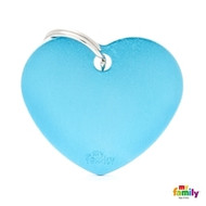 My Family basic engraved tag big heart light blue
