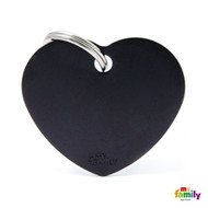 My Family basic engraved tag big heart black