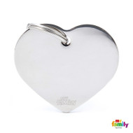 My Family basic engraved tag big heart chrome