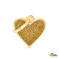 My Family glitter engraved tag small heart gold