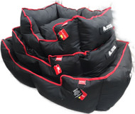 Wagit luxury square bed black with red trim