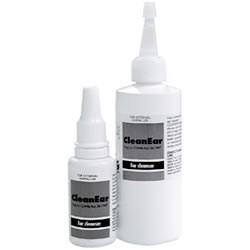 Non-medicated, gentle, ear cleaning solution for dogs and cats. Contains organic acids, propylene glycol and docusate (to dissolve wax) in an aqueous base.