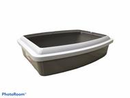 Savic oval litter tray + rim jumbo grey