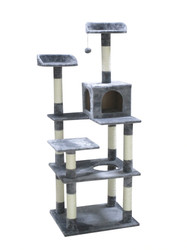 cb cat tree light grey plush XL