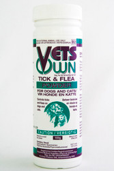 Controls ticks & fleas on dogs & cats