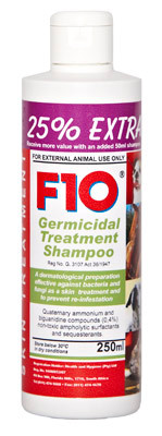 F10 Germicidal Treatment Shampoo is a safe and highly effective product for use on dogs, cats and horses as a skin treatment against bacterial and fungal infections.