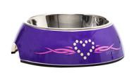 Rogz 2-in-1 Small 160ml Bubble Dog Bowl,Purple Chrome Design