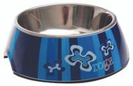 Rogz 2-in-1 Bubble Dog Bowl, Indigo Bone Design