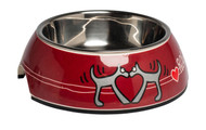 Rogz 2-in-1 Bubble Dog Bowl, Red Heart Design