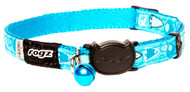 Rogz Catz FancyCat Small 11mm Stylish Cat Collars are fully adjustable for a neck size from 20-31cm and are fitted with the new Safeloc Breakaway Clip, which allows you to easily adjust the break-away load of the buckle for cats of +6.6lbs, +8.8lbs and +11lbs. Safety is still the priority so the buckle will still break free if placed under too much strain. With its color-coded and removable bell, satin-weave nylon webbing with an overlay print, your cat will be able to strut his stuff when out prowling the streets at night.  All FancyCat collars are scratch-resistant and their rolled edges are stitched as well to ensure no open ends or sharp edges on the product. Suitable for most cat breeds and sizes.