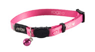 Rogz Catz KiddyCat Small 11mm Stylish Cat Collars are fully adjustable for a neck size from 20-31cm and are fitted with the new Safeloc Breakaway Clip, which allows you to easily adjust the break-away load of the buckle for cats of +6.6lbs, +8.8lbs and +11lbs. Safety is still the priority so the buckle will still break free if placed under too much strain. With its color-coded and removable bell, satin-weave nylon webbing with an overlay print, your cat will be able to strut his stuff when out prowling the streets at night.  All KiddyCat collars are scratch-resistant and their rolled edges are stitched as well to ensure no open ends or sharp edges on the product. Suitable for most cat breeds and sizes.
