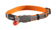 Rogz Catz Night Cat Small 11mm Reflective Cat Collars are fully adjustable for a neck size from 20-31cm and are fitted with the new Safeloc Breakaway Clip, which allows you to easily adjust the break-away load of the buckle for cats of +6.6lbs, +8.8lbs and +11lbs. Safety is still the priority so the buckle will still break free if placed under too much strain. With its color-coded and removable bell, satin-weave nylon webbing and polyurethane reflective as found on sports shoes with an overlay print, your cat will shine out amongst all the others when out prowling the streets at night.  All Night Cat collars are scratch-resistant and their rolled edges are stitched as well to ensure no open ends or sharp edges on the product. Suitable for most cat breeds and sizes.