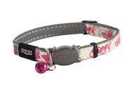 Rogz Catz Glow Cat Small 11mm Reflective and Glow-in-the-Dark Cat Collars are fully adjustable for a neck size from 20-31cm and are fitted with the new Safeloc Breakaway Clip, which allows you to easily adjust the break-away load of the buckle for cats of +6.6lbs, +8.8lbs and +11lbs. Safety is still the priority so the buckle will still break free if placed under too much strain. Glow Cat collars are made with a polyurethane reflective as found in sports shoes on the inside and a unique glow-in-the-dark polyurethane on the outside with an overlay print so you can have a lot of fun turning off the lights and watching where kitty goes in the dark.  The collars edges are rolled and stitched to ensure there are no open ends or sharp edges on the collar and comes with a color-coded, removable bell. Suitable for most cat breeds and sizes.