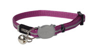 Rogz Catz Alley Cat Extra Small 8mm Reflective Kitten Collars are fully adjustable for a neck size from 16-23cm and are fitted with the new Safeloc Breakaway Clip, which allows you to easily adjust the break-away load of the buckle for small cats and kittens. Safety is still the priority so the buckle will still break free if placed under too much strain. Back to the basics, Alley Cat kitten collars are made from snag-proof webbing with a specially developed weave to prevent running and an upgraded, screenprinted reflective nylon.  There are no open ends or sharp edges and the color-coded bell can be removed if you and kitty would prefer a little peace and quiet. Suitable for most small cat and kitten breeds and sizes and matching harness and lead are also available.