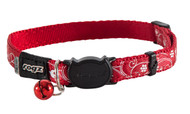 Rogz Catz SilkyCat Small 11mm Designer Filigree Cat Collars are fully adjustable for a neck size from 20-31cm and are fitted with the new Safeloc Breakaway Clip, which allows you to easily adjust the break-away load of the buckle for cats of +6.6lbs, +8.8lbs and +11lbs. Safety is still the priority so the buckle will still break free if placed under too much strain. With its color-coded and removable bell, satin-weave nylon webbing with an overlay print, your cat will be the envy of the neighbourhood cats.  All SilkyCat collars are scratch-resistant and their rolled edges are stitched as well to ensure no open ends or sharp edges on the product. Suitable for most cat breeds and sizes.