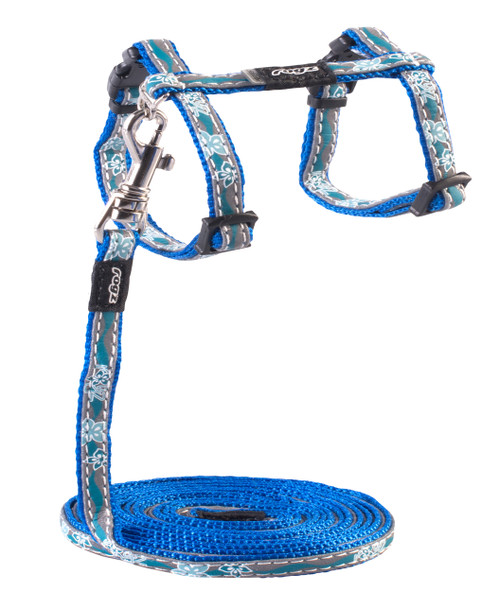 Rogz Catz NightCat Small 11mm Fixed Cat Lead and Adjustable Cat H-Harness combination is a soft and stylish satin-weave nylon webbing and polyurethane reflective as found on sports shoes with an overlay print, making your cat will shine out amongst all the others when out prowling the streets at night.  All Night Cat harnesses and leads are scratch-resistant and their rolled edges are stitched as well to ensure no open ends or sharp edges on the product. Suitable for most cat breeds and sizes.