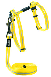 Rogz Catz 11mm AlleyCat Reflective Cat Lead and H-Harness Combination, Dayglo Yellow