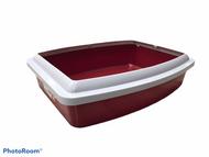 Savic oval litter tray + rim jumbo maroon