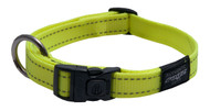 Rogz Utility Large 20mm Fanbelt Dog Collar, Dayglo Yellow Reflective(HB06-H)