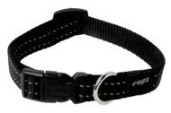 Rogz Utility Medium 16mm Snake Dog Collar, Black Reflective(HB11-A)