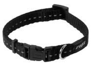 Rogz Utility Small 11mm Nitelife Dog Collar, Black Reflective(HB14-A)