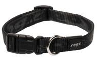 Rogz Alpinist Medium 16mm Matterhorn Dog Collar, Black Rogz Design(HB23-A)