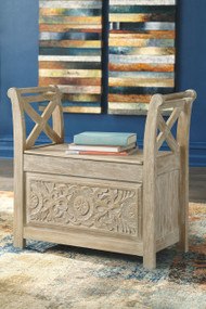 Fossil Ridge Whitewash Accent Bench