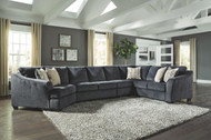 Eltmann Slate LAF Cuddler, Armless Chair, Armless Loveseat & RAF Sofa with Corner Wedge Sectional