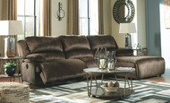 Clonmel Chocolate LAF Zero Wall Power Recliner, Armless Chair & RAF Press Back Power Chaise Sectional