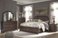 Adinton Brown 6 Pc. Dresser, Mirror, Chest & Queen Panel Bed with Storage