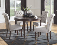 Adinton Reddish Brown 5 Pc. Oval Extension Table & 4 Upholstered Side Chairs