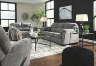 Allmaxx Pewter Sofa, Loveseat, Rocker Recliner & Augeron Table Set