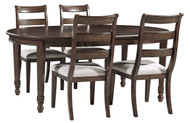 Adinton Reddish Brown 5 Pc. Oval EXT Table & 4 Upholstered Side Chairs