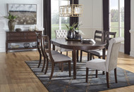 Adinton Reddish Brown 7 Pc. Oval EXT Table, 4 Upholstered Side Chairs & 2 Side Chairs