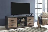 Harlinton Warm Gray LG TV Stand w/Fireplace Option