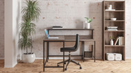 Arlenbry Gray L-Desk with Storage, Bookcase & Swivel Desk Chair