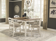 Realyn Two-tone 5 Pc.  Counter Extension Table & 4 Upholstered Barstools