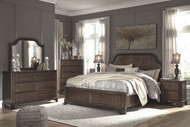 Adinton Brown 6 Pc. Dresser, Mirror, Chest & California King Panel Bed with 2 Storage Drawers