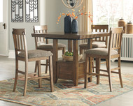 Flaybern Brown 5 Pc. Rectangular  Counter Extension Table & 4 Upholstered Barstools