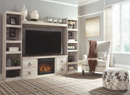 Willowton Whitewash Entertainment Center LG TV Stand, 2 Piers, Bridge with Fireplace Insert Infrared