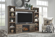 Trinell Brown Entertainment Center LG TV Stand, 2 Piers, Bridge with Fireplace Insert Infrared
