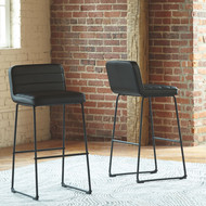 Nerison Black Tall Upholstered Barstool