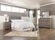 Zelen Warm Gray 3 Pc. Dresser, Mirror, King Panel Headboard