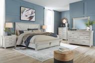 Brashland White 7 Pc. Dresser, Mirror, Queen Panel Bed with Bench Footboard, 2 Nightstands